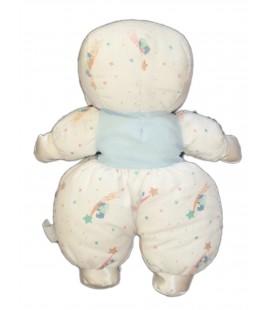 Doudou Poupée tissu chiffon BOULGOM - H 35 cm - Blanc bleu motifs Etoiles