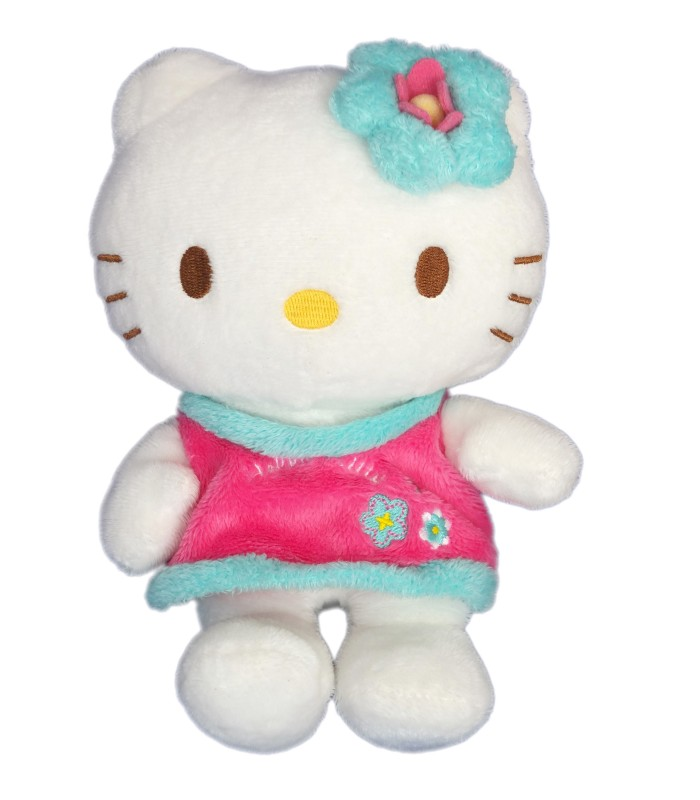 peluche doudou hello kitty robe rose fleurs licence sanrio h 20 cm. Black Bedroom Furniture Sets. Home Design Ideas