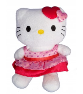 Peluche doudou HELLO KITTY - Robe rouge coeurs - Licence Sanrio - H 20 cm
