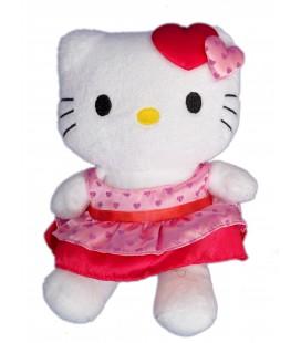 Peluche doudou HELLO KITTY - Robe rouge coeurs - Licence Sanrio - H 20 cm