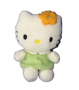 Peluche doudou HELLO KITTY - Robe verte Fleur orange - Licence Sanrio Jemini - H 15 cm