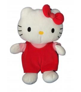 Peluche doudou HELLO KITTY - Salopette noeud rouge - Licence Sanrio Jemini - H 28 cm