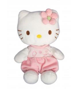 Peluche doudou HELLO KITTY - Fleur rose - Licence Sanrio Jemini - H 28 cm