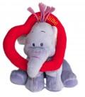 Doudou peluche LUMPY Efelant Elephant mauve Coeur Je t'aime - Disney Nicotoy H 15 cm