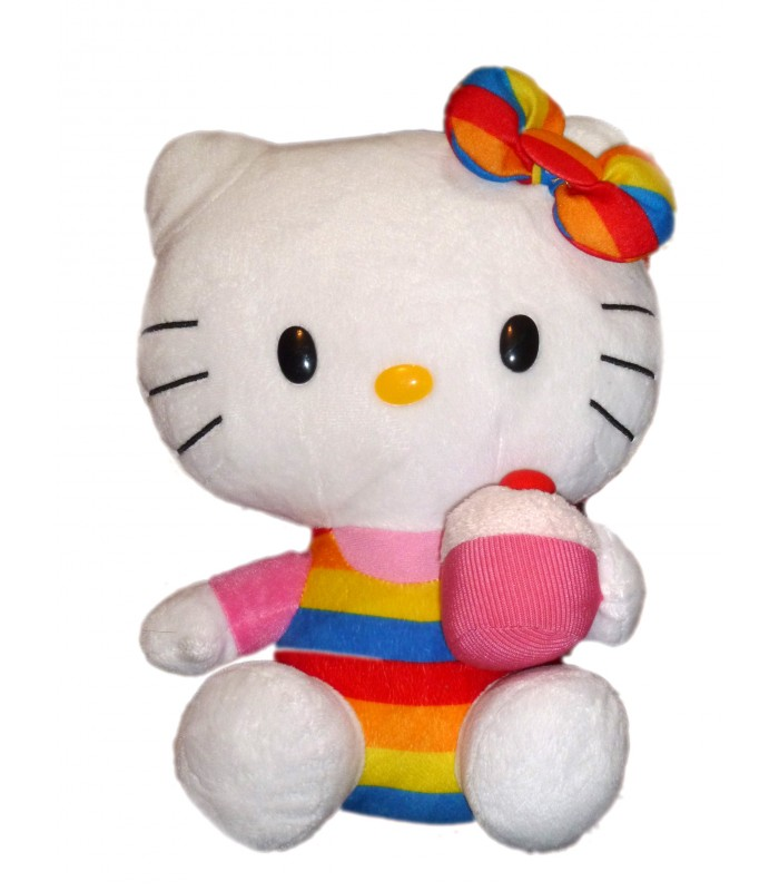 peluche doudou hello kitty arce en ciel gateau ty licence sanrio juratoy h 28 cm. Black Bedroom Furniture Sets. Home Design Ideas