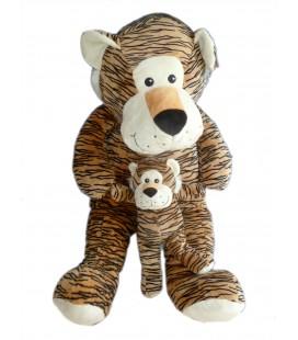 Peluche Géante doudou Tigre marron et son bébé - MAX ET SAX - 1 m 100 cm