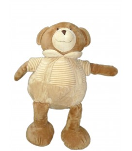Doudou peluche OURS marron beige blanc rayures - Playkids - CMI - 40 cm REF23100191
