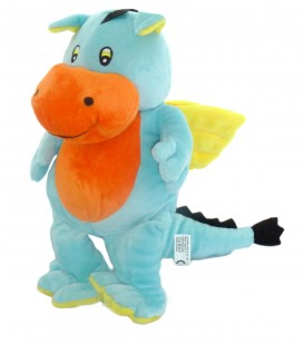 Doudou peluche DRAGON bleu jaune orange ALTHANS CLUB 28 cm