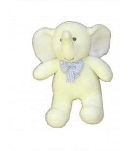 Doudou Peluche ELEPHANT jaune bleu - LUMINOU Jemini - H 26 cm
