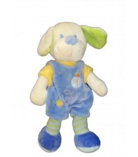Doudou Peluche CHIEN Salopette bleue MOTS D'ENFANTS Poussin Maison - H 26 cm