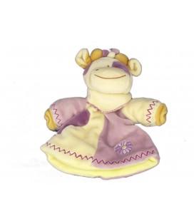 Doudou Marionnette VACHE mauve Fleur - LASCAR - H 22 cm