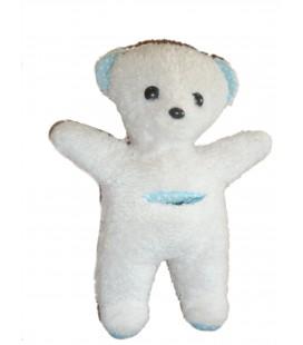 Peluche OURS blanc bleu à pois - BOULGOM - Poche devant - H 30 cm