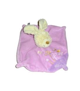 Doudou plat carré LAPIN mauve fleurs brodées - TEX Baby