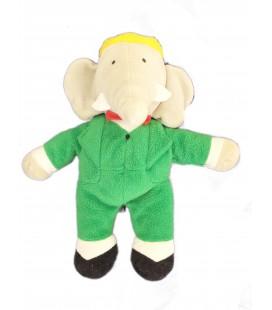 Peluche Doudou Elephant BABAR gris vert AJENA Nounours H 24 cm Collector Vintage