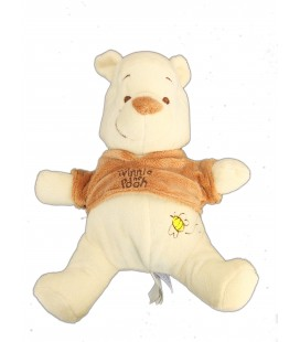 Peluche doudou Winnie l'Ourson Beige pull marron - Disney Baby - Abeille bordée
