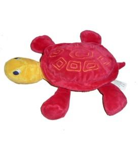 Doudou peluche TORTUE rouge jaune - TOUT COMPTE FAIT - Echarpe rayée - L 28 cm