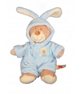 Doudou peluche OURS beige déguisé lapin bleu - NICOTOY - H 35 cm