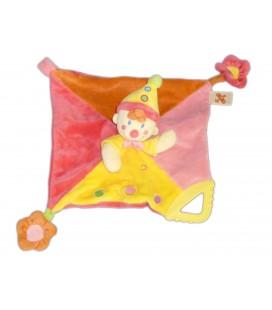Doudou plat Clown Lutin Rose Jaune NICOTOY - Fleur Attache Tétine anneau Dentition
