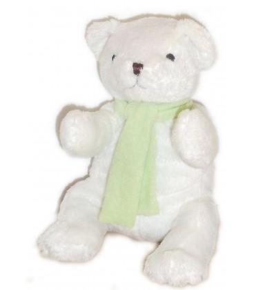 Doudou peluche Ours polaire blanc Gingo Biloba écharpe verte 25 cm