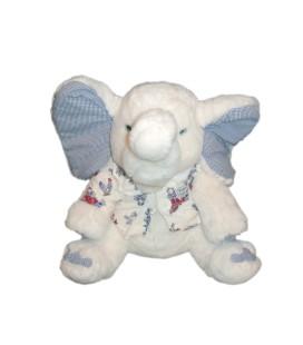 Peluche Doudou ELEPHANT blanc Gilet oreilles vichy bleu - TARTINE ET CHOCOLAT - H 40 cm