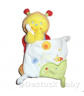 Doudou ABEILLE mouchoir POMMETTE - jaune orange - 24 cm