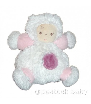 Doudou peluche FILLE blanc rose KALOO - Coll Igloo - Patapouf boule 18 cm