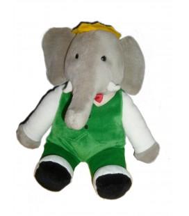 Peluche Doudou Elephant BABAR gris vert GUND H 34 cm Collector