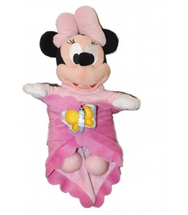 Doudou peluche - MINNIE - Couverture Rose - Papillon - H 35 cm Disney Disneyland Paris