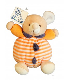 Doudou SOURIS orange rayures - Grelot - MAXITA - H 15 cm