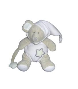 Doudou Luminescent Souris grise blanche étoile Bonnet BABY NAT' 20 cm