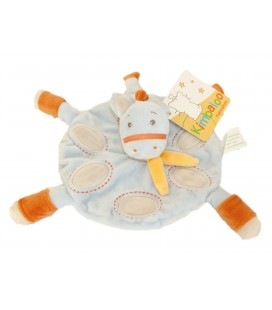 Doudou plat rond CHEVAL Poney bleu orange KIMBALOO La Halle