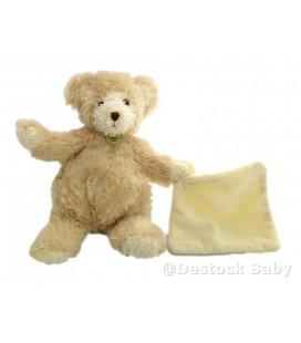 Doudou OURS beige Mouchoir blanc crème écru Goldy BaBY NaT' BaBynat 25 cm