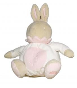 Doudou peluche lapin boule KLORANE Blanc rose 27 cm