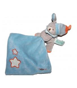 Doudou Luminescent CHIEN Ours gris Bonnet - BABY NAT' Babynat - Mouchoir bleu Etoiles oranges