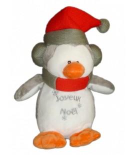 Doudou peluche PINGOUIN Creaprim Françoise SaGET Joyeux Noël 28 cm Blanc Gris Bonnet rouge