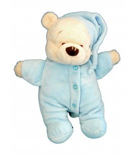 Peluche WINNIE L'OURSON Pyjama bonnet nuit bleu - H 24 cm - Walt Disney Store London