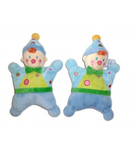 NICOTOY Lot 2 doudous Clown Lutin rose semi plats Grelot