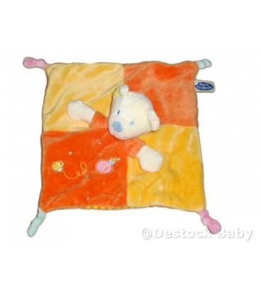 Doudou plat ours jaune orange Mots d Enfants Poussin oiseau maison