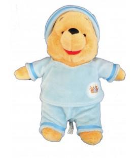 Peluche Doudou WINNIE L'OURSON Pyjama bleu bonnet - H 30 cm - Disney Nicotoy 587/9851
