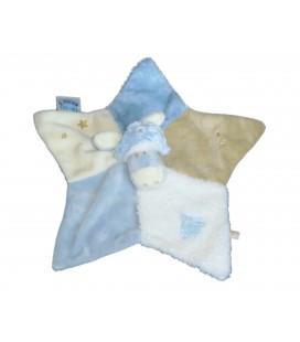Doudou plat ANE Paco NOUKIE'S Noukies bleu blanc beige Sapin Etoile brodés Bonnet