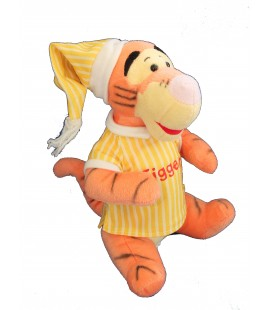 Peluche TIGROU Pyjama bonnet chemise de nuit jaune rayures - Tigger - Disney