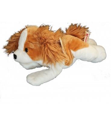 Doudou peluche CHIEN allongé blanc marron NICOTOY Simba Dickie 30 cm