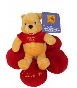Peluche doudou Winnie l'Ourson The Pooh sur fleur rouge I Love You H 18 cm