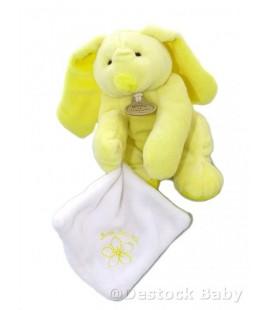 DOUDOU ET COMPAGNIE - LAPIN jaune avec Mouchoir Blanc Mon doudou 14 cm