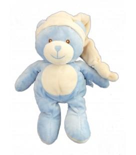 Doudou peluche OURS bleu blanc GIPSY Plush Collections H 27 cm + bonnet