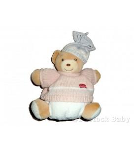 Doudou OURS beige KaLOO - Bonnet gris pull rose - Laine tricot - 22 cm