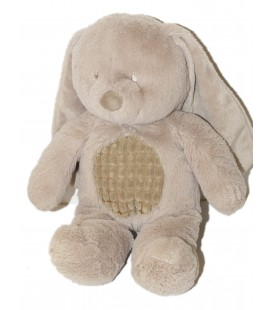 Doudou peluche LAPIN gris beige taupe - TEX Baby Carrefour CMI Nicotoy - 34 cm