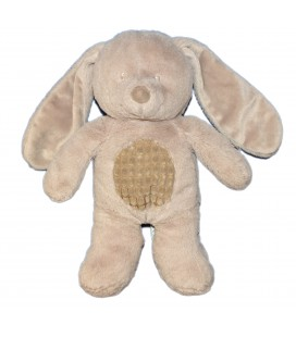 Doudou peluche lapin gris beige taupe TEX Baby Carrefour CMI Nicotoy 34 cm
