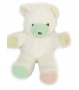 Vintage - OURS en Peluche de collection - TIENO - Blanc vert rose - H 30 cm