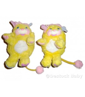 Lot de 2 - Popples Jaune - Potato Chip - Yellow - 20 cm - Mattel 1986 vintage